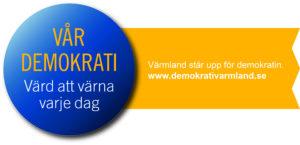 Logotype Värmland demokrati 100 år med webbadress