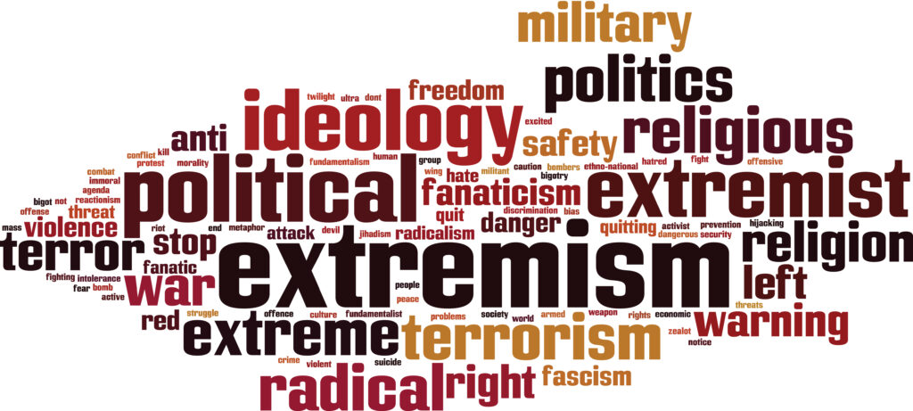 Bild Extremism word cloud concept. Vector illustration